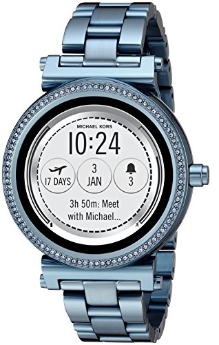 Michael Kors Access Women's 'Sofie Touchscreen' Quartz Stainless Steel Casual Watch, Color Blue (Model: MKT5042)