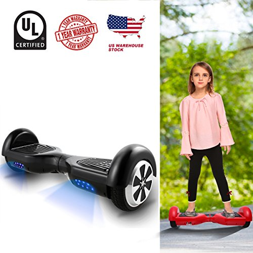 WeSkate Hoverboard UL 2272 Certified 6.5″ Electric Smart Self Balancing Scooter Board-Max 330lbs, 350W dual motors, Battery Power-off Protection, 6.5 MPH Speed, One-Year Warranty (black)