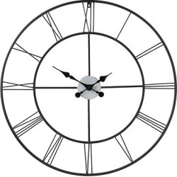 Roman Decorative Wall Clock – Black w/ Silver – Aiden Lane