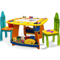 Crayola Wooden Table and Chair Set, Multicolor