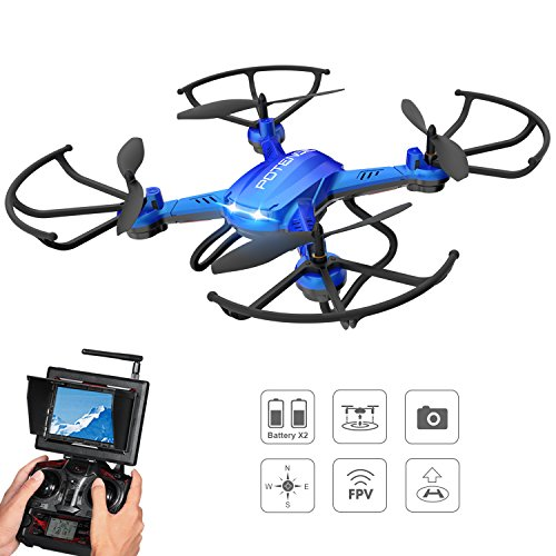 Potensic F181DH Drone with Camera, RC Quadcopter 720P Altitude Hold UFO & Seamless-speed Function with FPV LCD Screen Monitor – Blue