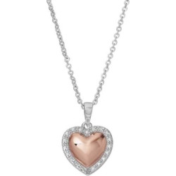 Delicate Diamonds Two Tone Sterling Silver Heart Pendant Necklace, Women's, Pink