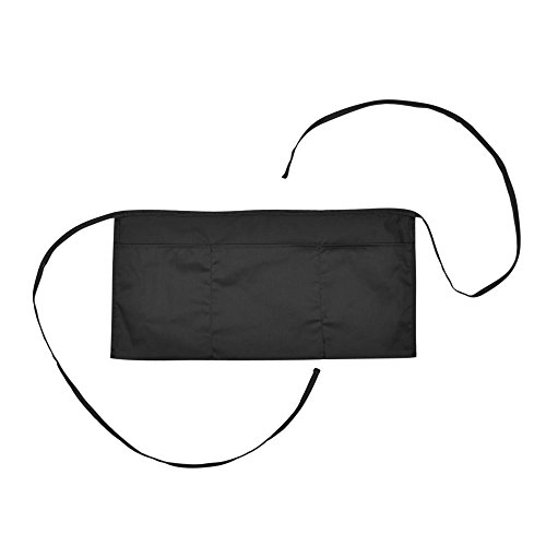 Waist Aprons Commercial Restaurant Home Bib Spun Poly Cotton Kitchen (3 Pockets) in Black 100 Pack