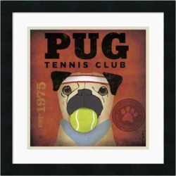 Pug Tennis Club Framed Art Print by Stephen Fowler, Black