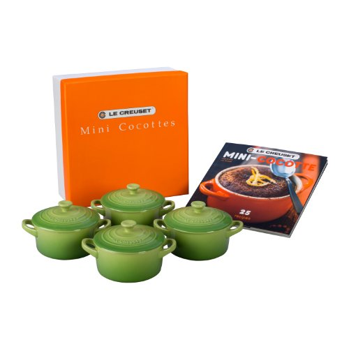 Le Creuset Set of 4 Mini Cocottes with Cookbook, Palm