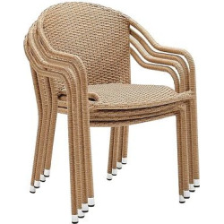 Crosley Palm Harbor Outdoor Wicker Stackable Chairs Set of 4 – Light Brown