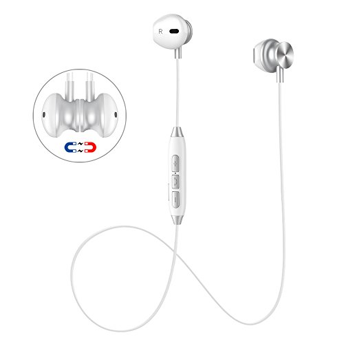 Bluetooth Headset, Wireless Earbuds V4.1 Stereo Noise Canceling Sport Magnetic Headphones Earpieces with Built in Mic for Samsung Galaxy S9/S8/S7, iPhone X/8/8 Plus/7/7 Plus and More (White)