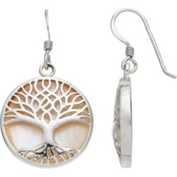 Sterling Silver Mother-of-Pearl Tree of Life Disc Drop Earrings, Women's, White