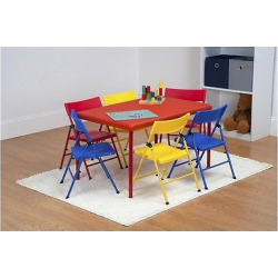 Safety 1st 7 pc Children's Juvenile Set with Pinch Free Folding Chairs and Screw In Leg Table – Red – Cosco