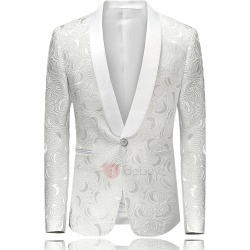 Tidebuy Notched Lapel One Button Mens White Blazer