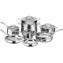 Cuisinart Contour Stainless Steel 13 Piece Cookware Set w/cover – 44-13, Silver