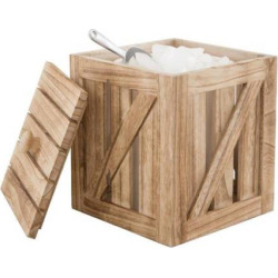 Artland Mixology Ice Bucket Crate with Lid & Ice Scoop, Brown