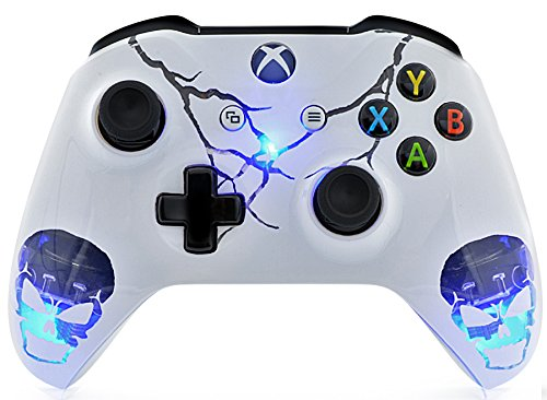"""""""Skulls White"""" Xbox One S Rapid Fire Custom Modded Controller 40 Mods for All Major Shooter Games, Auto Aim, Quick Scope, Auto Run, Sniper Breath, Jump Shot, Active Reload & More (with 3.5 jack)"""
