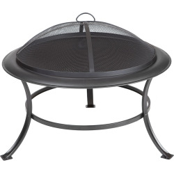 Fire Sense Tokia Round Outdoor Fire Pit, Black