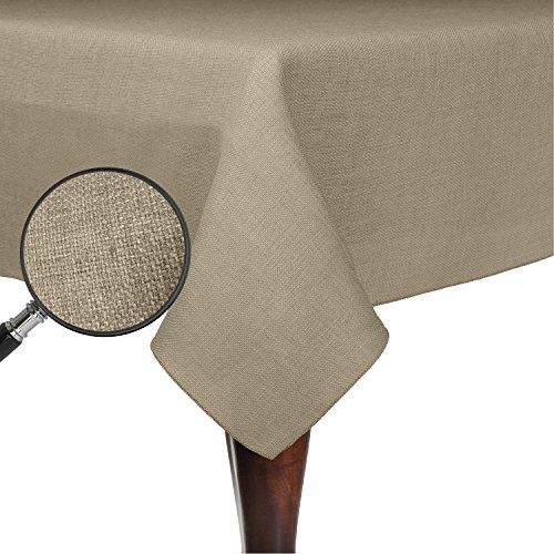 Ultimate Textile (5 Pack) Faux Burlap – Havana 60 x 120-Inch Rectangular Tablecloth – Basket Weave, Natural