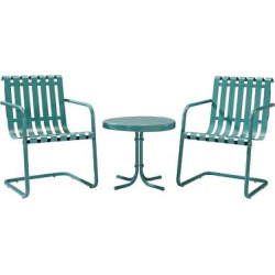 Gracie 3-Piece Metal Patio Chat Set – Blue