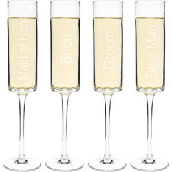 4ct Wedding Party Contemporary Champagne Flutes, Clear