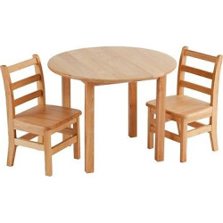 Round Hardwood Table and Chair Set – ECR4Kids, Wood