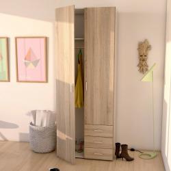 Space 2-Door Wardrobe Closet, Brown