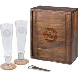 Picnic Time Philadelphia 76ers Pilsner Beer Gift Set for 2, Brown
