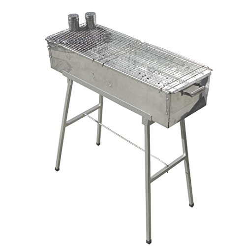 Party Griller 32″ x 11″ Stainless Steel Charcoal Barbecue Grill w/ 2x Stainless Steel Mesh Grate – Portable BBQ Kebab, Satay, Yakitori Grill. Makes Juicy Shish Kebob, Shashlik, Spiedini on the Skewer