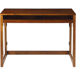 Casual Home Folding Desk with USB Port, Brown