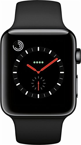 Apple Watch Series 3, 42MM, GPS + Cellular, Space Black Stainless Steel Case, Black Sport Band (Certified Refurbished)