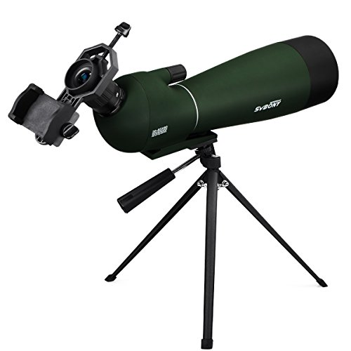SVBONY SV28 Waterproof Spotting Scope 20-60x80mm for Target Shooting Archery Bird Watching Hunting Bak4 Prism with Phone Adapter and Carrying Case
