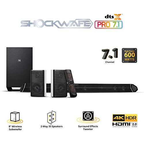 Nakamichi Shockwafe Pro 7.1Ch DTS:X 600W 45-Inch Sound Bar with 8″ Wireless Subwoofer & 2-Way Rear Satellite Speakers