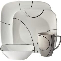 Corelle Square 16pc Dinnerware Set Simple Lines