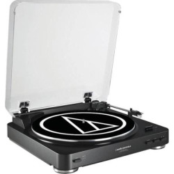 Audio-Technica Fully Automatic Belt-Drive Stereo Turntable (AT-LP60BK-USB), Black