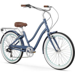 Women's sixthreezero EVRYjourney Navy 26-Inch Step-Through Touring Hybrid Bike, Blue