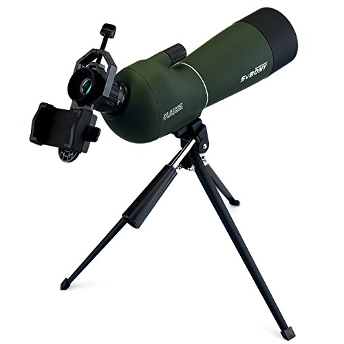 SVBONY SV28 Porro Prism Spotting Scope 20-60x60mm Bird Scopes for Shooting Bird Watching 45 Degree Angled Eyepiece Telescope for Target Shooting Hunting Bak4 Prism with Tripod and Phone Adapter