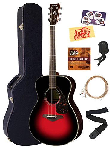 Yamaha FS830 Solid Top Small Body Acoustic Guitar – Dusk Sun Red Bundle with Hard Case, Tuner, Strings, Strap, Picks, Austin Bazaar Instructional DVD, and Polishing Cloth