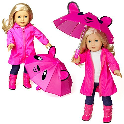 Emma's Heart Doll Clothes for 18 Inch American Girl Dolls, Raincoat with Glow in the Dark Logo, Shirt, Pants, Boots with Zipper and Umbrella