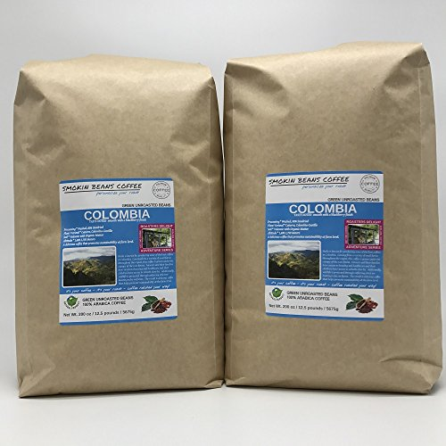 25-lbs COLOMBIA – ADVENTURE SERIES – Unroasted Green SPECIALTY-GRADE Coffee Beans, FRESH-HARVEST – HUILA known for Producing Best Coffee in Colombia – Sustainably Grown under Rainforest Canopy-1750M