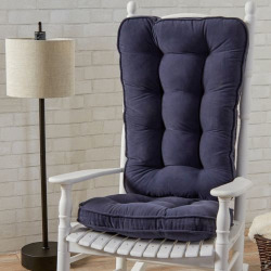 Greendale Home Fashions Jumbo Deluxe Boxed Rocker Seat Cushion, Blue
