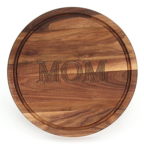 """BigWood Boards W110-MOM Thick Round Cutting Board, 16-Inch by 1-Inch, Monogrammed """"MOM"""", Walnut"""