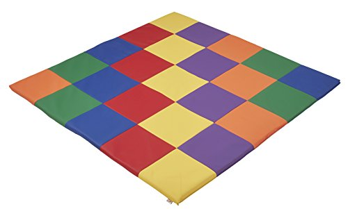 ECR4Kids Softzone Patchwork Toddler Foam Play Mat, 58″ Square, Primary