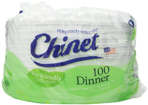 Chinet Economy Pack- 10 3/8 Dinner Plate Economy-Pkg 400 Plates Total (Classic)