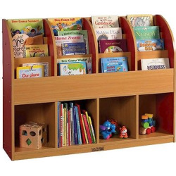 ECR4Kids Single-Sided Standard Book Stand – Red, Red/Wood