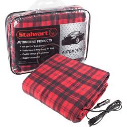 Stalwart 12-Volt Plaid Vehicle Electric Blanket, Red