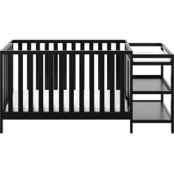Stork Craft Pacific 4-in-1 Convertible Crib & Changer, Black
