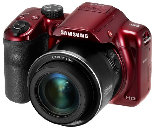 Samsung WB1100F 16.2MP CCD Smart WiFi & NFC Digital Camera with 35x Optical Zoom, 3.0″ LCD and 720p HD Video (Red)
