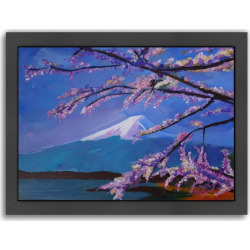 """Americanflat """"Mount Fuji With Lake And Almond Blossom Time"""" Framed Wall Art, Multicolor"""