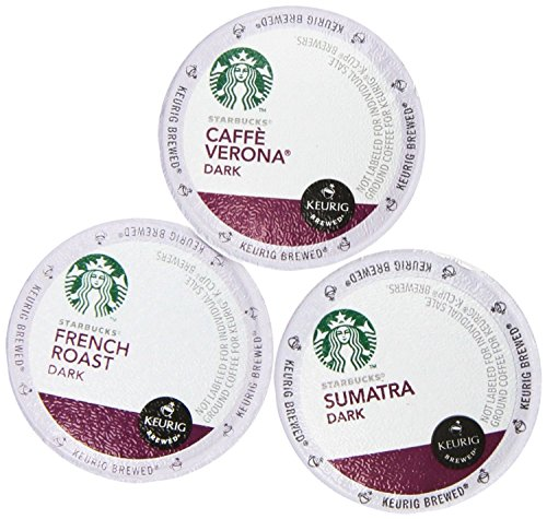144 Pack – Starbucks Variety Coffee K-Cup Featuring 3 Dark Roast for Keurig Brewers – French Roast, Sumatra, Caffe Verona