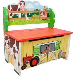 Fantasy Fields Happy Farm Storage Bench Wood- Teamson