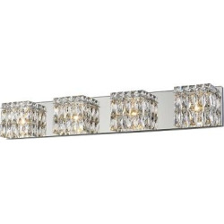 Magari Led 4-Light Vanity Light – Chrome – Crystal Glass Shade, Grey