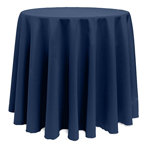Ultimate Textile -5 Pack- 90-Inch Round Polyester Linen Tablecloth – for Wedding, Restaurant or Banquet use, Midnight Navy Dark Blue