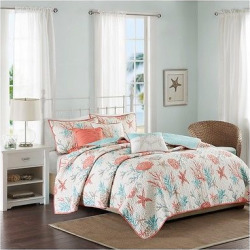 Coral Ocean View Printed Quilt Set (King/California King) 6pc, Pink